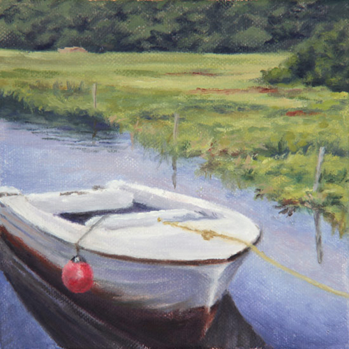 "Will Kefauver oil painting, ""Creek Mooring"""
