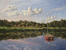 "Will Kefauver oil painting, ""Red Mooring"""