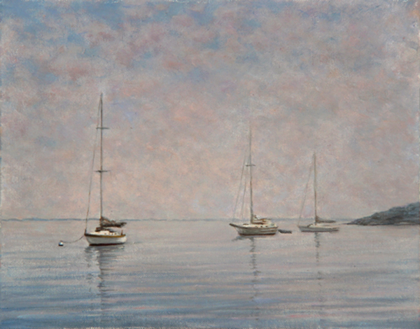 "Will Kefauver oil painting, ""Boats in Fog"""