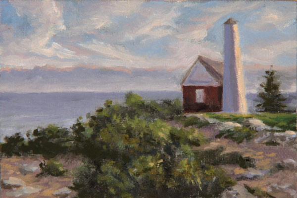 "Will Kefauver oil painting, ""Lighthouse Sky"""