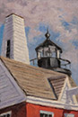 "Will Kefauver oil painting, ""Rooftops, Pemaquid"""