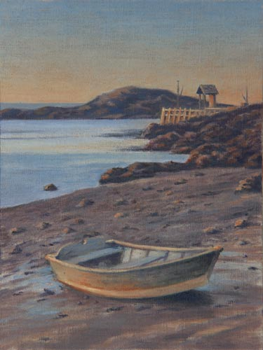 "Will Kefauver oil painting, ""Alone at Fish Beach"" Monhegan Island, Maine"