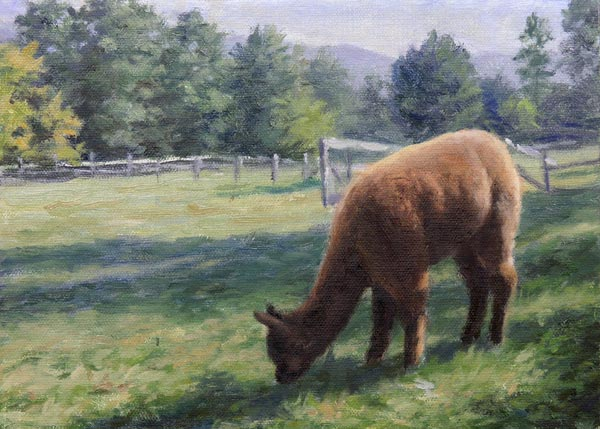 Will Kefauver, painting of alpacas, Afternoon in the Field