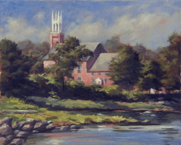 "Will Kefauver oil painting, ""Church on the River"""