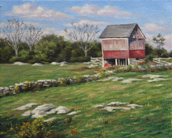 "Will Kefauver oil painting, ""Barn at Old Lyme"""