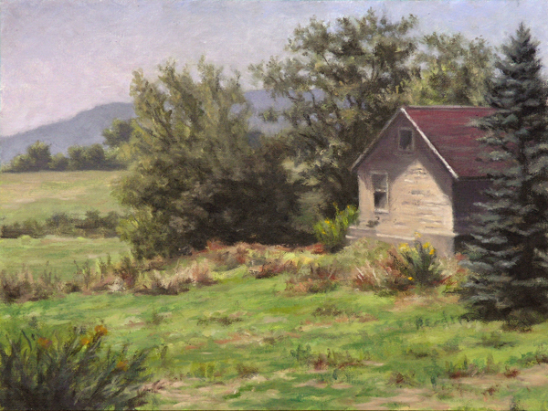 "Will Kefauver oil painting, ""Shed in the Field"""