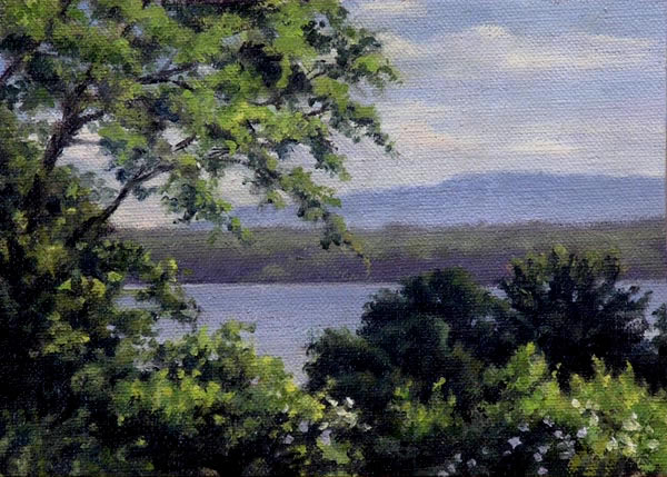 "Will Kefauver Hudson River Paintings, ""Glimpse of the River"""