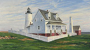 "Will Kefauver oil painting, ""Lawn at Pemaquid Light"""