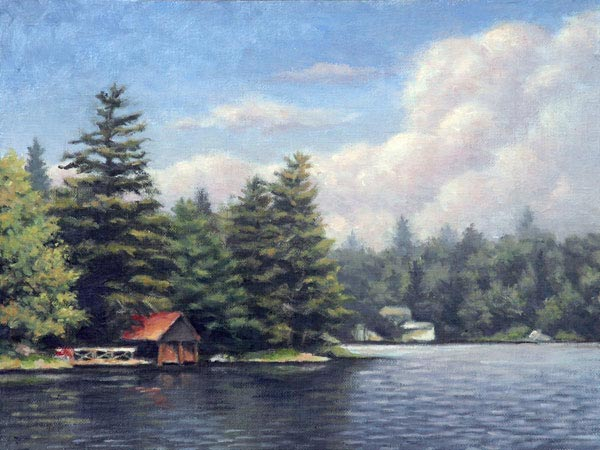 "Will Kefauver oil painting, ""Boathouse"""