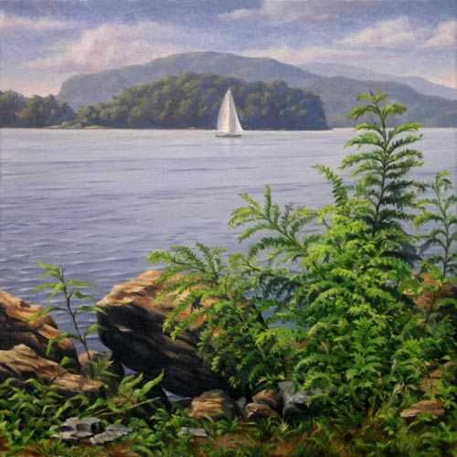 "Will Kefauver oil painting, ""Croton Point III"""