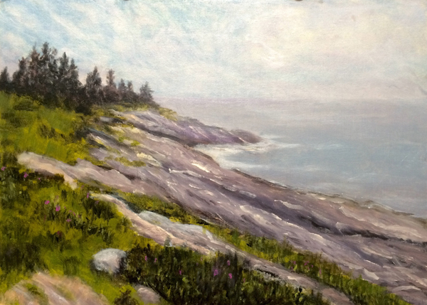 "April Wolfe's oil painting, ""Pemaquid Rocks"""
